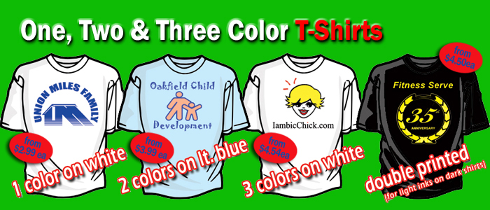 one two three color t shirts